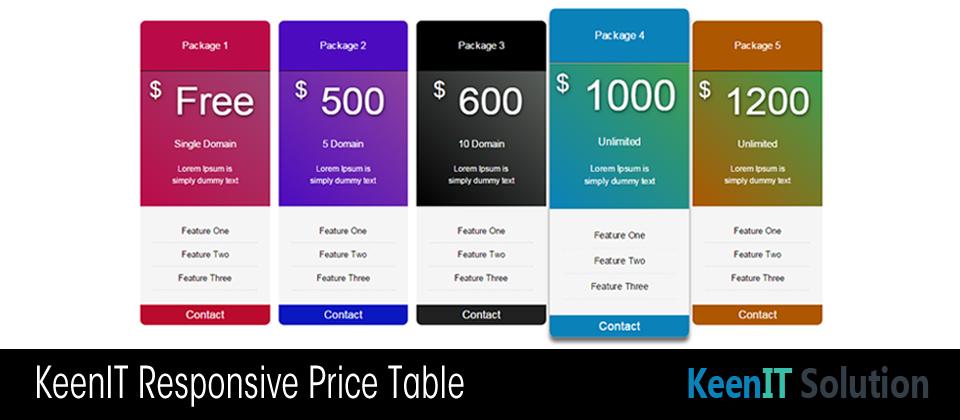 KeenIT Responsive Price Table